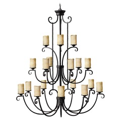 Hinkley 18-Light Chandelier with Brown Glass in Olde Black