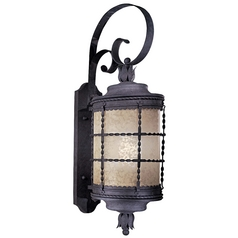 Outdoor Wall Light with Beige / Cream Glass in Spanish Iron Finish