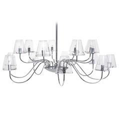 Et2 Modern 16-Light Chandelier with Clear Glass in Polished Chrome