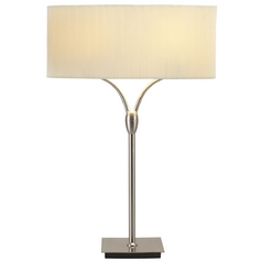 Modern Table Lamp With Beige / Cream Shades In Satin Steel Finish