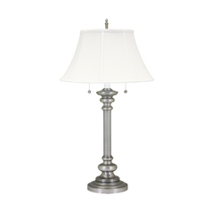 Table Lamp with White Shades in Pewter Finish