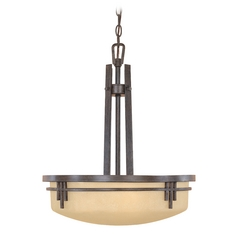 Drum Pendant Light with Beige / Cream Glass in Warm Mahogany Finish