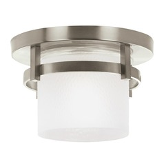 Modern Close To Ceiling Light with White Glass in Brushed Nickel Finish