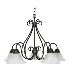 Chandelier with Alabaster Glass in Textured Black Finish