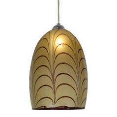 Art Glass Mini-Pendant Light with Amber Shade