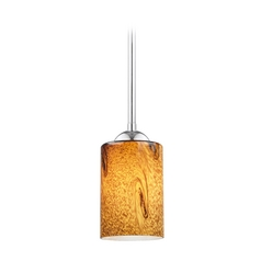 Design Classics Lighting Modern Mini-Pendant Light with Brown Art Glass 581-26 GL1001C