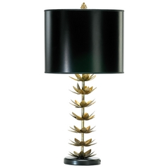 Cyan Design Lotus Leaf Golden Patina Table Lamp with Drum Shade