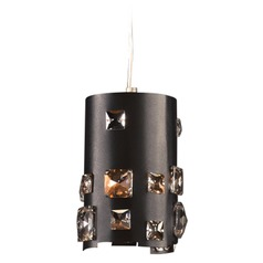 PLC Lighting Twilight Black Mini-Pendant Light with Cylindrical Shade