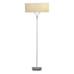Modern Floor Lamp with Beige / Cream Shades in Satin Steel Finish