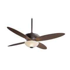 Modern Ceiling Fan with Light with White Glass in Bronze Finish