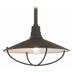 Barn Light Pendant Bronze with Cage 14-inch Wide by Design Classics Lighting