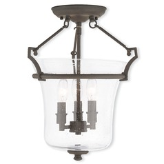 Seeded Glass Semi-Flushmount Light Bronze Livex Lighting