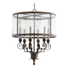 Quorum Lighting Champlain Vintage Copper Pendant Light with Drum Shade