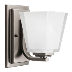 Kichler Modern Sconce with White Glass in Pewter Finish
