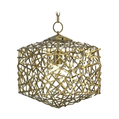Modern Pendant Light in Hand Rubbed Gold Leaf Finish