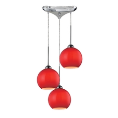Multi-Light Pendant with Red Shades