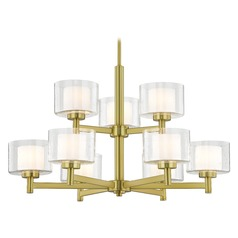Modern Satin Brass 2-Tier 9 Light Chandelier with Satin White and Clear Seeded Glass