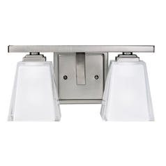 Kichler Modern Bathroom Light with White Glass in Pewter Finish