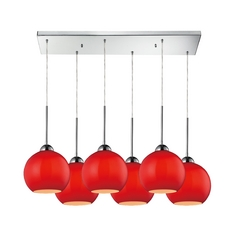 Elk Lighting HGTV Red Multi-Light Pendant - Six Lights 10240/6rc-verm