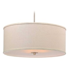 Modern Drum Pendant Light with Cream Linen Shade