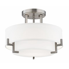 Modern Ceiling Light with White Glass in Satin Nickel Finish | 7014 ...