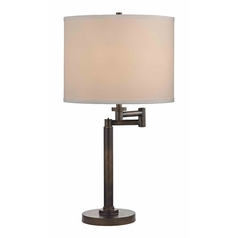 Bronze Three-Way Drum Table Lamp with Swing-Arm
