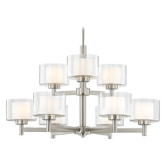 Modern Satin Nickel 2-Tier 9 Light Chandelier with Satin White and Clear Seeded Glass