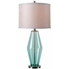 Kenroy Home Lighting Azure Teal Glass Table Lamp with Drum Shade