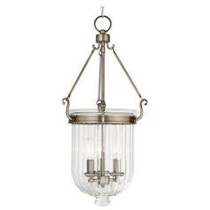 Livex Lighting Coventry Antique Brass Pendant Light with Fluted Shade