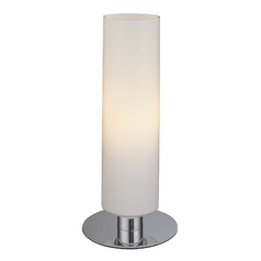 Modern Table Lamp with White Glass in Chrome Finish