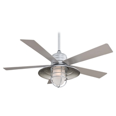 54-Inch Ceiling Fan with Light with White Glass in Galvanized Finish