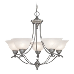Chandelier with Alabaster Glass in Pewter Finish
