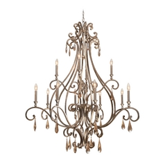 Crystal Chandelier in Distressed Twilight Finish