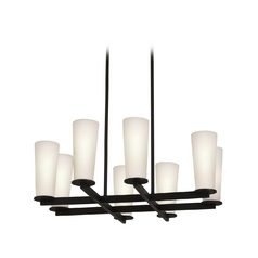 Modern Chandelier with White Glass in Black Bronze Finish
