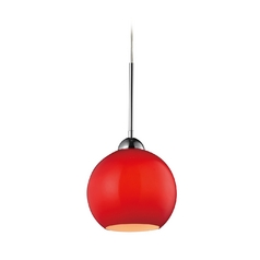 Modern LED Mini-Pendant Light with Red Glass