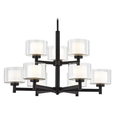 Modern Neuvelle Bronze 2-Tier 9 Light Chandelier with Satin White and Clear Seeded Glass