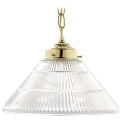 Nuvo Lighting Polished Brass Pendant Light with Conical Shade