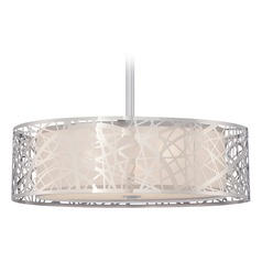 Quoizel Platinum Collection Abode Polished Chrome Pendant Light with Drum Shade