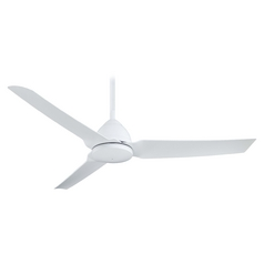 54-Inch Modern Ceiling Fan Without Light in White Finish