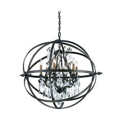 Modern Crystal Orb Pendant Chandelier Light in Bronze Finish