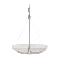 Pendant Light with White Glass in Satin Platinum Finish