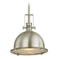 Design Classics Vaughn Satin Nickel Pendant Light with Bowl / Dome Shade