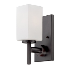 Modern Sconce Wall Light with White Glass in Biscayne Bronze Finish