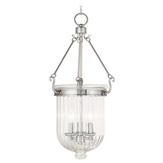 Livex Lighting Coventry Polished Nickel Pendant Light with Fluted Shade