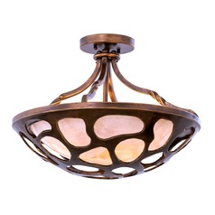 Kalco Gramercy Copper Patina Semi-Flushmount Light