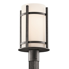 Kichler Post Light with White Glass in Anvil Iron Finish