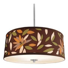 Drum Pendant Light with Floral Shade in Satin Nickel Finish