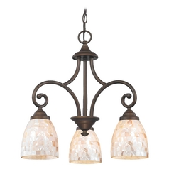 Mini-Chandelier with Beige / Cream Glass in Neuvelle Bronze Finish