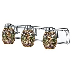 3-Light Chrome Bathroom Light with 3D Glass