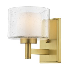 Seeded Glass Sconce Brass